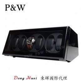【P&W手錶自動上鍊盒】JDS600BB 手工木質鋼烤 搖錶器 5種轉速設定 電池插電雙用(6支裝全黑)