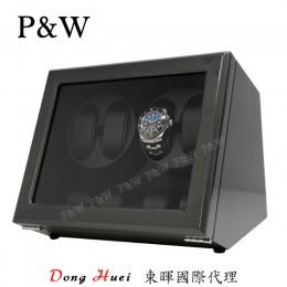 【P&W手錶自動上鍊盒】JDS440TB 手工木質鋼烤 搖錶器 5種轉速設定 電池插電雙用(4+4支裝 碳纖維紋)