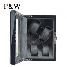【P&W手錶自動上鍊盒】JDS220-2KB 手工木質鋼烤 搖錶器 5種轉速設定 電池插電雙用(2+2支裝 灰壇木紋+灰色)