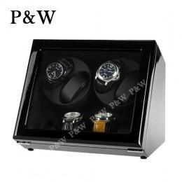【P&W手錶自動上鍊盒】JDS440BB 手工木質鋼烤 搖錶器 5種轉速設定 電池插電雙用(4+4支裝 全黑色)