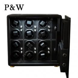 【P&W手錶自動上鍊盒】QN-12BB 手工皮質 收藏盒 搖錶器 保險箱式(12支裝 全黑色)