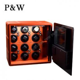 【P&W手錶自動上鍊盒】QN-12OR 手工皮質 收藏盒 搖錶器 保險箱式(12支裝 橘+黑色)