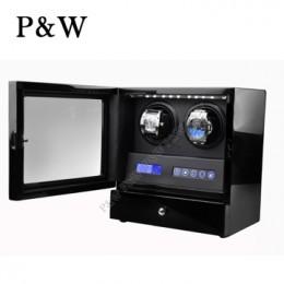 【P&W手錶自動上鍊盒】S202-LB 手工木質鋼烤 搖錶器 LED燈 電子式5種轉速設定(2+2支裝 全黑色)