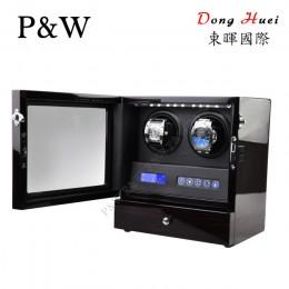 【P&W手錶自動上鍊盒】S202-LE 手工木質鋼烤 搖錶器 LED燈 電子式5種轉速設定(2+2支裝 黑壇木紋+黑色)