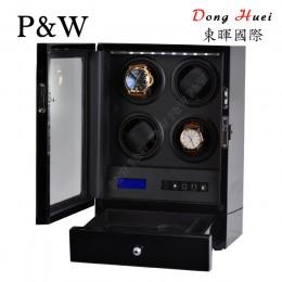 【P&W手錶自動上鍊盒】S204-LB 手工木質鋼烤 搖錶器 LED燈 電子式5種轉速設定(4+2支裝 全黑色)