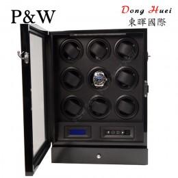 【P&W手錶自動上鍊盒】S209-LB 手工木質鋼烤 搖錶器 LED燈 電子式5種轉速設定(9+2支裝 全黑色)