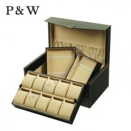 P&W 手工精品 名錶收藏盒+首飾盒 (10支裝錶盒 碳纖維紋+駝色)