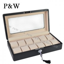 P&W 手工精品 玻璃鏡面 木質名錶收藏盒 (12支裝錶盒 碳纖維紋+米色)