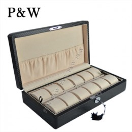P&W 手工精品 木質名錶收藏盒 (12支裝錶盒 碳纖維紋+米色)