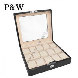 P&W 手工精品 玻璃鏡面 木質名錶收藏盒 (15支裝錶盒 碳纖維紋+米色)