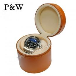 P&W 手工皮質 名錶收藏盒 (1支裝錶盒 棕+米色)