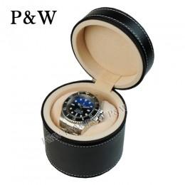 P&W 手工皮質 名錶收藏盒 (1支裝錶盒 黑+米色)
