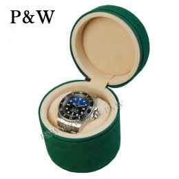 P&W 手工磨砂皮質 名錶收藏盒 (1支裝錶盒 綠+米色)