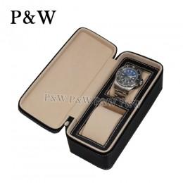 P&W 手工皮質 名錶收藏盒 (2支裝錶盒 黑+米色)
