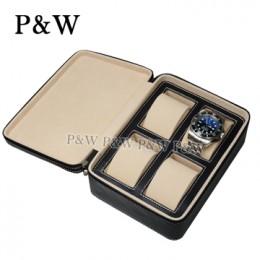 P&W 手工皮質 名錶收藏盒 (4支裝錶盒 黑+米色)