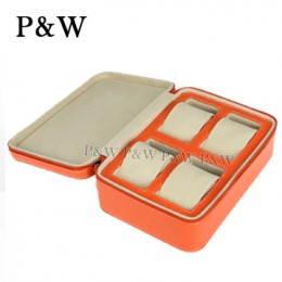P&W 手工 真皮 名錶收藏盒 (4支裝錶盒 橘+米色)