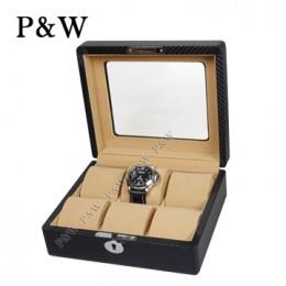 P&W 手工精品 玻璃鏡面 木質名錶收藏盒 (6支裝加大款錶盒 碳纖維紋+駝色)