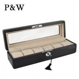 P&W 手工精品 玻璃鏡面 木質名錶收藏盒 (6支裝錶盒 碳纖維紋+米色)