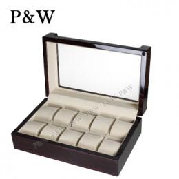 P&W 手工木質鋼烤 透明上蓋 名錶收藏盒 (10支裝錶盒 黑壇木紋+米色)