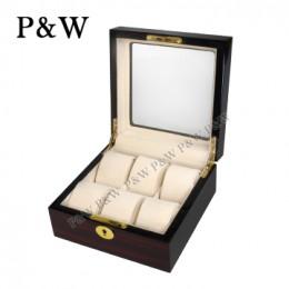 P&W 手工木質鋼烤 玻璃鏡面 名錶收藏盒 (6支裝錶盒 黑壇木紋+米色)