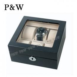 P&W 手工木質鋼烤 玻璃鏡面 名錶收藏盒 (6支裝錶盒 碳纖維紋+米色)