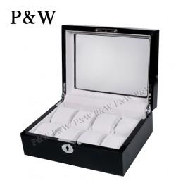 P&W 手工木質鋼烤 玻璃鏡面 名錶收藏盒 (8支裝錶盒 黑+灰色)