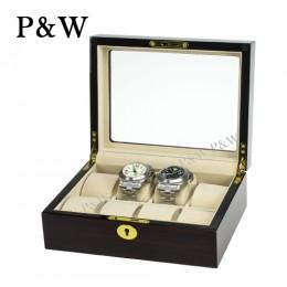 P&W 手工木質鋼烤 玻璃鏡面 名錶收藏盒 (8支裝錶盒 黑壇木紋+米色)