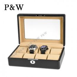 P&W 手工精品 玻璃鏡面 木質名錶收藏盒 (8支裝加大款錶盒 碳纖維紋+駝色)