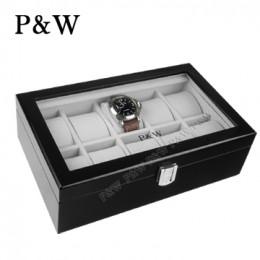 P&W 手工木質鋼烤 玻璃鏡面 名錶收藏盒 (10支裝錶盒 黑+灰色)