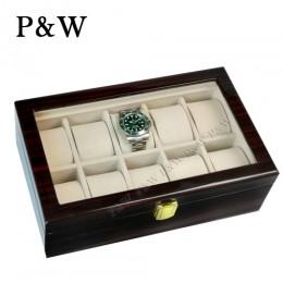 P&W 手工木質鋼烤 玻璃鏡面 名錶收藏盒 (10支裝錶盒 黑壇木紋+米色)