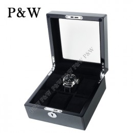 P&W 手工木質鋼烤 玻璃鏡面 名錶收藏盒(6支裝錶盒 碳纖維紋+黑色)