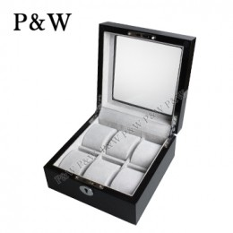 P&W 手工木質鋼烤 玻璃鏡面 名錶收藏盒 (6支裝錶盒 黑+灰色)