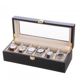 手工木質啞光烤漆 玻璃鏡面 名錶收藏盒 (6支裝錶盒 黑+米色)