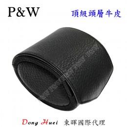 P&W 手工 頭層牛皮 名錶收藏盒 (1支裝錶盒 黑+灰色)