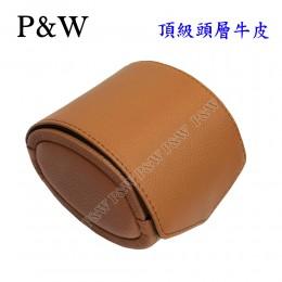 P&W 手工 頭層牛皮 名錶收藏盒 (1支裝錶盒 棕+灰色)
