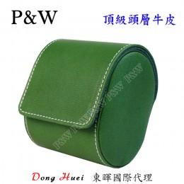 P&W 手工 頭層牛皮 名錶收藏盒 (1支裝錶盒 綠+藍色)