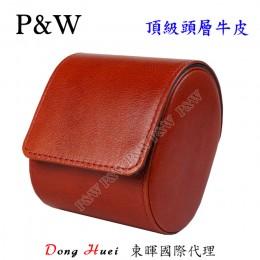 P&W 手工 頭層牛皮 名錶收藏盒 (1支裝錶盒 紅棕+藍色)