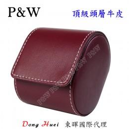 P&W 手工 頭層牛皮 名錶收藏盒 (1支裝錶盒 紅+灰色)
