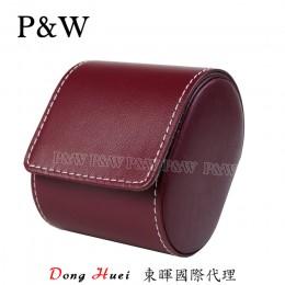 P&W 手工 真皮 名錶收藏盒 (1支裝錶盒 紅+灰色)