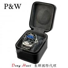 P&W 手工皮革材質 名錶收藏盒 (1支裝錶盒 黑+灰色)