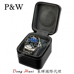 P&W 手工 超纖皮革材質 名錶收藏盒 (1支裝錶盒 黑+灰色)