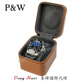 P&W 手工 超纖皮革材質 名錶收藏盒 (1支裝錶盒 棕+灰色)