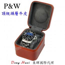 P&W 手工 頭層牛皮 名錶收藏盒 (1支裝錶盒 紅棕+灰色)
