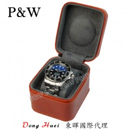 P&W 手工 真皮 名錶收藏盒 (1支裝錶盒 橙+灰色)