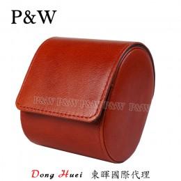 P&W 手工 真皮 名錶收藏盒 (1支裝錶盒 紅棕+藍色)