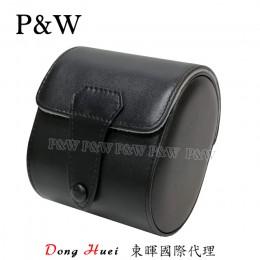 P&W 手工 真皮 名錶收藏盒 (1支裝錶盒 黑+灰色)