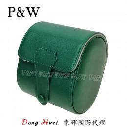 P&W 手工 真皮 名錶收藏盒 (1支裝錶盒 綠+灰色)
