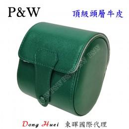 P&W 手工 頭層牛皮 名錶收藏盒 (1支裝錶盒 綠+灰色)