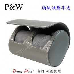 P&W 手工 頭層牛皮 名錶收藏盒 (2支裝錶盒 灰色)