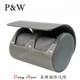 P&W 手工 真皮 名錶收藏盒 (2支裝錶盒 灰色)